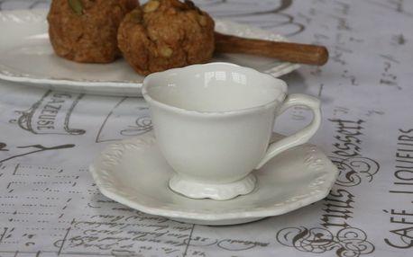 Chic Antique Porcelánový šálek s podšálkem Espresso Provence, bílá barva, porcelán