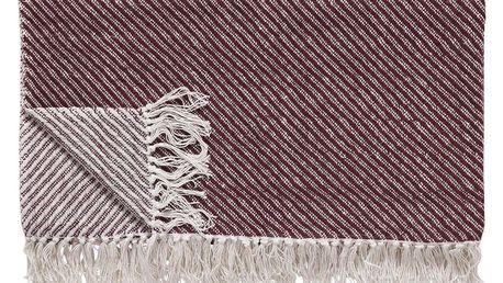 Hübsch Bavlněný pléd Red Off White 140x200cm, červená barva, bílá barva, textil