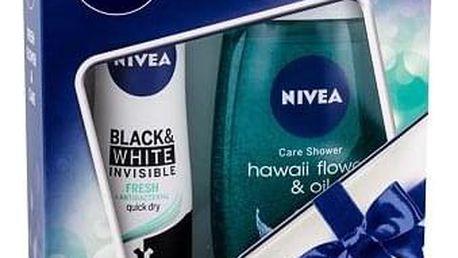 Nivea Hawaii Flower & Oil sada sprchový gel 250 ml + antiperspirant Invisible Black & White Fresh 150 ml pro ženy