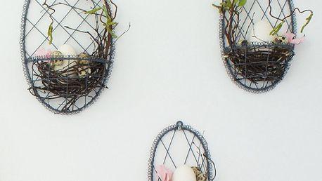 Krasilnikoff Závěsné drátěné vajíčko na dekorace Grey Velikost M, šedá barva, dráty