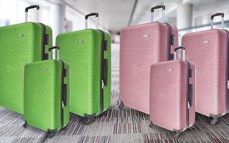 Sada tří lehkých cestovních kufrů v 9 barvách
