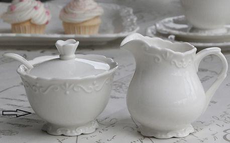 Chic Antique Porcelánová cukřenka Provence, bílá barva, keramika