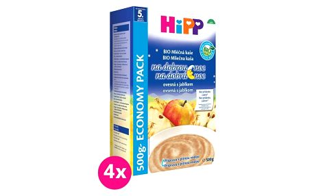4x HIPP BIO Na dobrou noc jablečná s ovesnými vločkami (500 g) - mléčno-obilná kaše