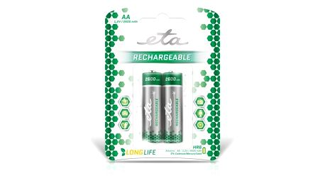 Baterie nabíjecí ETA AA, HR06, 2600mAh, Ni-MH, blistr 2ks (R06CHARGE26002)