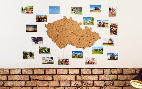 Samolepicí korkové mapy na zeď: Česko i Evropa