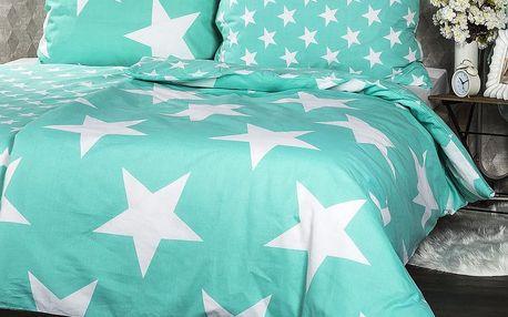 JAHU povlečení New Stars mint, 140 x 200 cm, 70 x 90 cm
