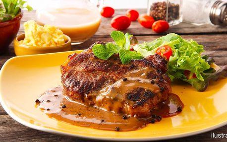 Dva steaky s volbou druhu masa, omáčky a přílohy