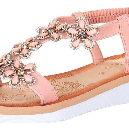 Dámské sandály s kamínky kytky s krystalky