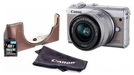 Canon EOS M100 + M 15-45 + EH31FJ + 16 GB karta šedý (2211C069)