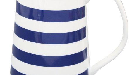 Krasilnikoff Džbán Blue Stripes, modrá barva, bílá barva, porcelán