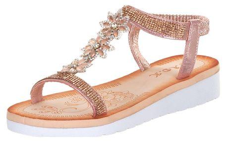 Brilliant Dámské sandály s kamínky a květiny