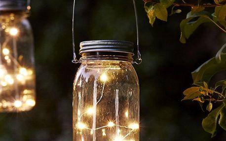 STAR TRADING Svítící lucerna na solární napájení, čirá barva, sklo