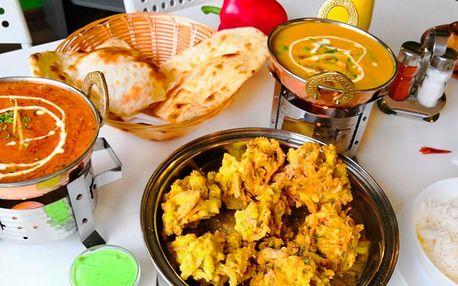 Indické menu pro 2 osoby: kuřecí i vege jídla