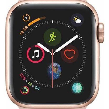 Chytré hodinky Apple Watch Series 4 Watch Series 4 GPS 40mm pouzdro ze zlatého hliníku - pískově růžový sportovní řemínek CZ verze (MU682HC/A)