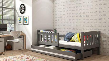 Dětská postel KUBUS 1 90x200 cm, grafitová/bílá Pěnová matrace