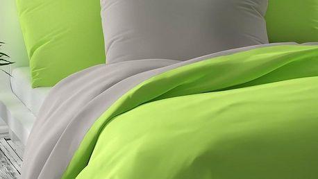 Kvalitex Saténové povlečení Luxury Collection světle zelená/světle šedá, 200 x 200 cm, 2 ks 70 x 90 cm