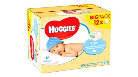 12x HUGGIES® Quatro Pack Pure 56 ks - vlhčené ubrousky
