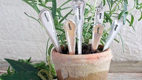 La de da! Living Postříbřené zápichy na bylinky Herb Planters - set 6 pcs, stříbrná barva, kov