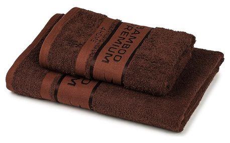 4Home Sada Bamboo Premium osuška a ručník tmavě hnědá, 70 x 140 cm, 50 x 100 cm