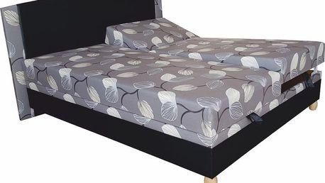 Manželská postel KAMASUTRA 175 cm včetně roštu, matrace a ÚP ekočerná/melody šedá