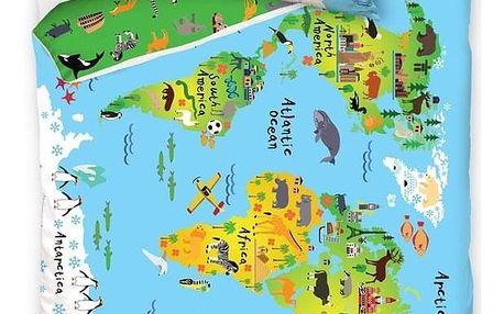 TipTrade Dětské bavlněné povlečení Mapa Světa, 140 x 200 cm, 70 x 90 cm
