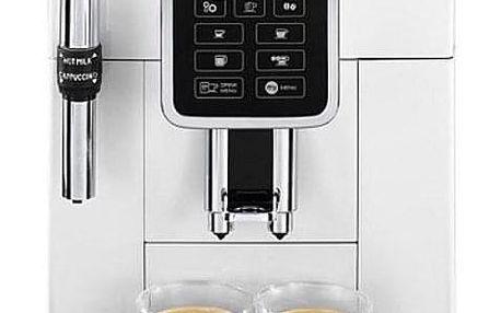 Espresso DeLonghi Dinamica ECAM 350.35W bílé + dárky 2x Káva zrnková DeLonghi Kimbo Classic 250g + Příslušenství DeLonghi Skleničky espresso v hodnotě 358 Kč