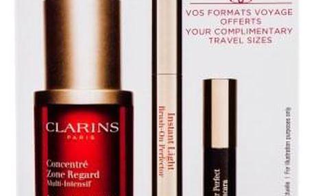 Clarins Super Restorative Total Eye Concentrate dárková kazeta pro ženy péče o oční okolí 15 ml + řasenka Wonder Perfect 3 ml 01 + korektor Instant Light Brush On Perfector 1 ml 02