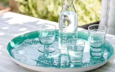 Garden Trading Servírovací tác Fiskardo 48cm, modrá barva, zelená barva, kov