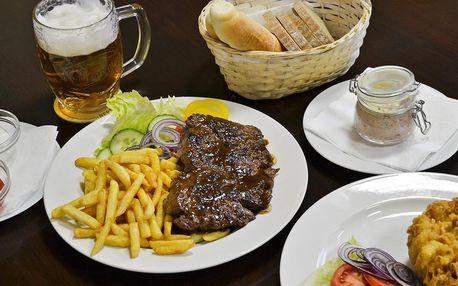 Předkrm a steak z mladého býčka nebo rumpsteak