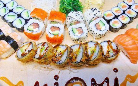 34 kousků lahodného sushi: losos, kreveta i krab