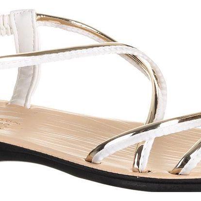 CAMO Dámské sandály propletené pásky stříbrné