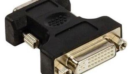 Adaptér VGA–DVI,zástrčka VGA –24+5pinová zásuvka DVI-I,černý - ★ Dodatečná sleva v košíku 10 %