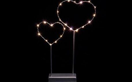 Nexos 57388 Vánoční LED dekorace - kovové srdce - 25 LED šedá
