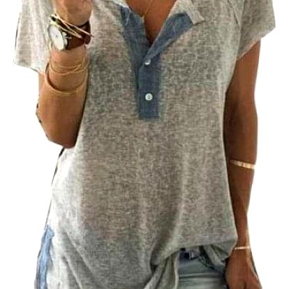 Volné dámské tričko s knoflíčky - šedá