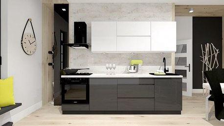 Kuchyně Nina - 260 cm (bílá/šedá)