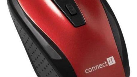 Connect IT bezdrátová optická myš, červená (CI-1224) - ★ Dodatečná sleva v košíku 15 %