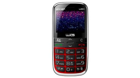 Telefon pro seniory Winner WG15, červená - ★ Dodatečná sleva v košíku 15 %
