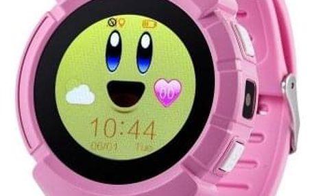 Dětské chytré hodinky GW600 s GPS, růžová - ★ Dodatečná sleva v košíku 10 %