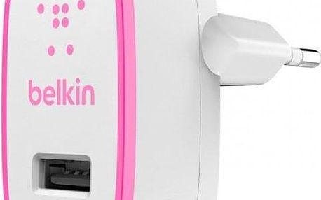 Nabíječka Belkin 1xUSB 2,1A, bílá/růžová - ★ Dodatečná sleva v košíku 15 %