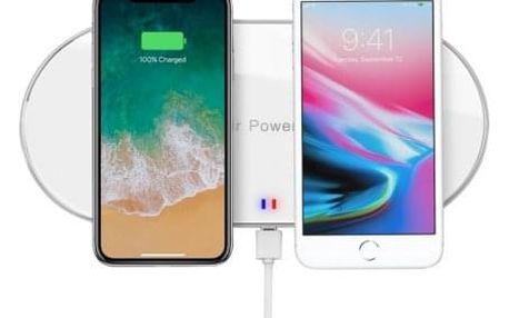 Bezdrátová nabíječka WG pro dva telefony s QI, bílá - ★ Dodatečná sleva v košíku 15 %