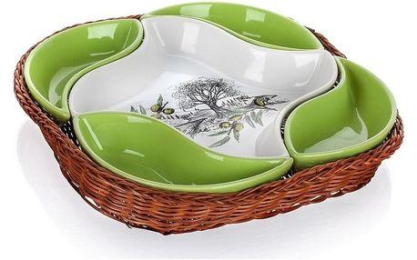 Banquet Olives 5dílná servírovací mísa v košíku