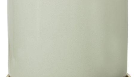 Bloomingville Obal na květináč s miskou Green, zelená barva, zlatá barva, keramika 14cmx14cm