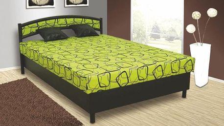 Čalouněná postel NIKOLA 140x200 cm vč. roštu, matrace a ÚP Ekokůže černá / zelená
