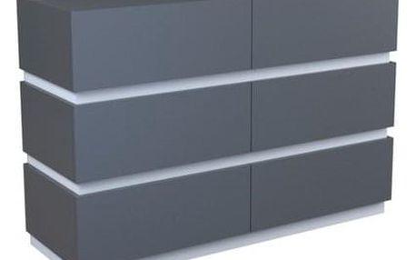 Variabilní komoda TESS 6 120 cm šuplíků grafit/bílá