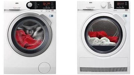 Set (Automatická pračka AEG ProSteam® L7FBE48SC) + (Sušička prádla AEG AbsoluteCare® T8DBG48WC) + DOPRAVA ZDARMA
