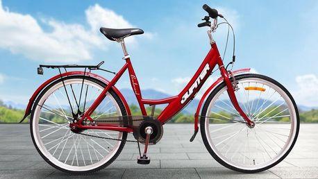 Dámské červené kolo Olpran s ocelovým rámem