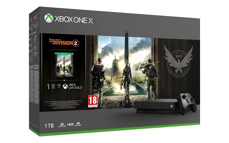 Herní konzole Microsoft Xbox One X 1 TB + Tom Clancy's The Division 2 (CYV-00264)