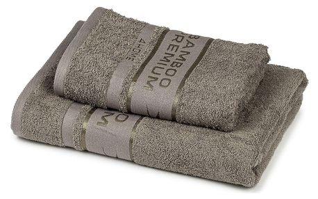 4Home Sada Bamboo Premium osuška a ručník šedá, 70 x 140 cm, 50 x 100 cm