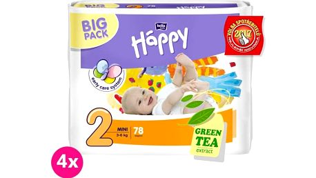 4x BELLA HAPPY Mini 2 (3-6kg) Big Pack 78 ks - jednorázové plenky