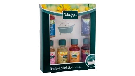 Kneipp Bath Oil dárková kazeta pro ženy Anti-stres 20 ml + Mandlové květy 20 ml + Klidná mysl 20 ml + Tajemství krásy 20 ml + Staré dobré časy 20 ml + Meduňka 20 ml